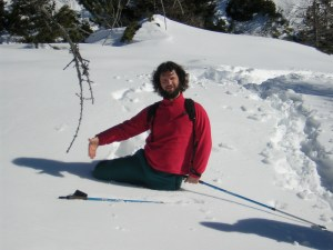 Stefano in posizione da salto ad ostacoli